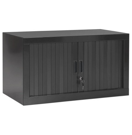 Petite armoire de bureau basse 'CLASSIFY' grise foncée - 44x80 cm