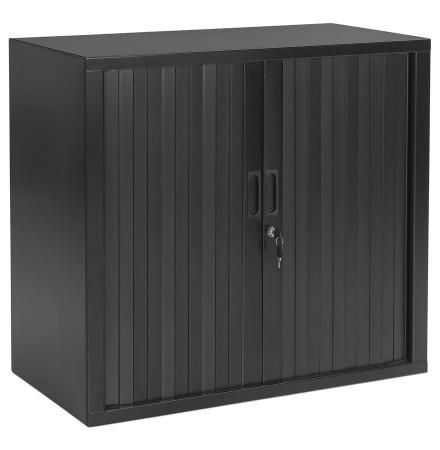 Petite armoire de bureau à rideaux 'CLASSIFY' grise foncée - 72x80 cm