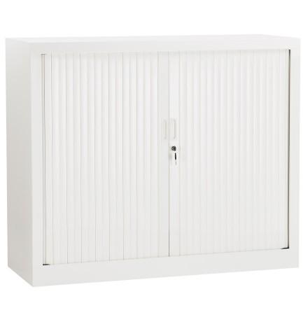 Armoire de bureau basse à rideaux 'CLASSIFY' blanche - 100x120 cm