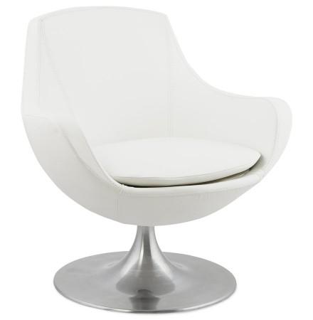Fauteuil 'COKPIT' rotatif design en matière synthétique blanche