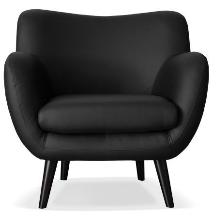 Fauteuil de salon 1 place 'COLETTE MINI' en matière synthétique noire