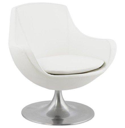 Fauteuil COKPIT rotatif design en similicuir blanc - Alterego