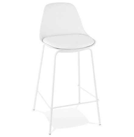 Tabouret mi-hauteur COOKIE MINI blanc style industriel - Alterego