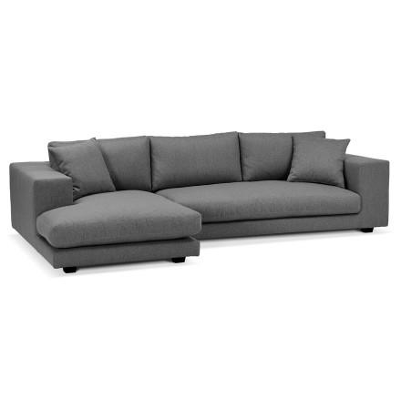 Canapé d'angle design 'DALTON L SHAPE' en tissu gris foncé (angle à gauche)
