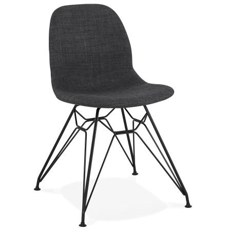 Chaise design 'DECLIK' grise foncée avec pieds en métal noir