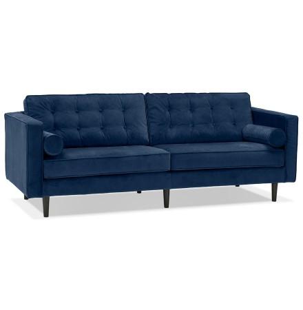 Grand canapé droit 'DELYA XL' en velours bleu foncé - Canapé 3 places