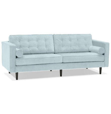 Grand canapé droit 'DELYA XL' en velours bleu clair - Canapé 3 places