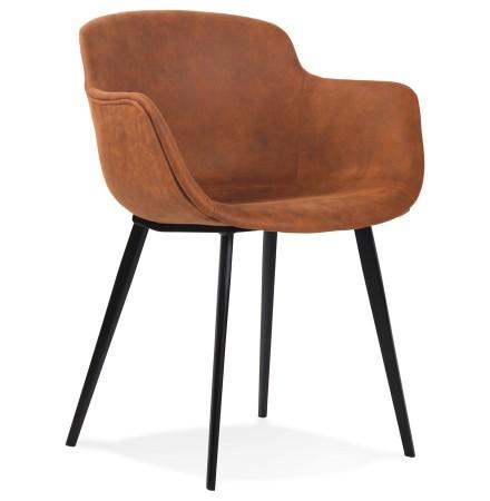Chaise avec accoudoirs 'DERBY' en microfibre brune