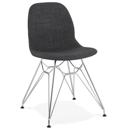 Chaise design 'DECLIK' grise foncée avec pieds en métal chromé