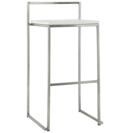 Tabouret de bar design 'DISKO' blanc empilable style industriel