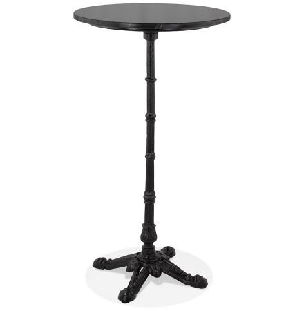 Table haute ronde 'DOMY ROUND' style rustique en pierre noire effet marbre - 60x60 cm