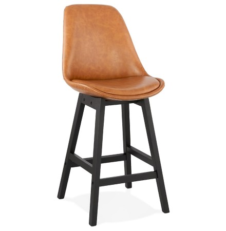 Tabouret snack mi-hauteur 'ELENA MINI' brun en matière synthétique et pied en bois noir