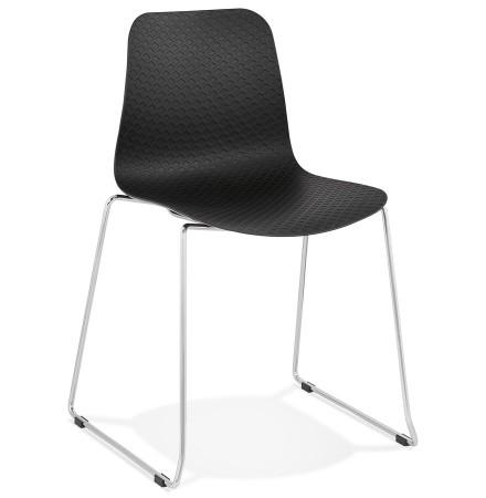 Chaise moderne 'EXPO' noire avec pieds en métal chromé
