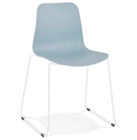 Chaise moderne 'EXPO' bleue avec pieds en métal blanc