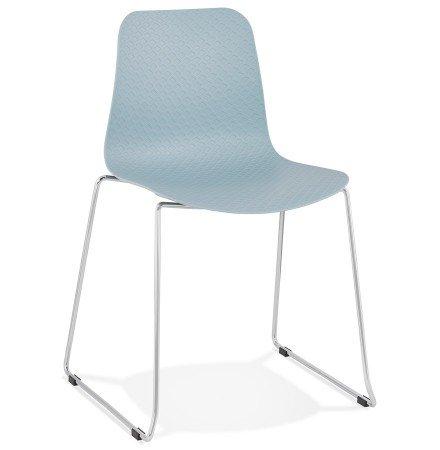 Chaise moderne 'EXPO' en matière plastique bleue et métal