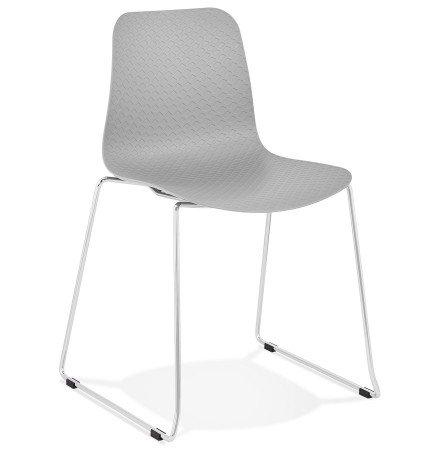 Chaise moderne 'EXPO' grise avec pieds en métal chromé