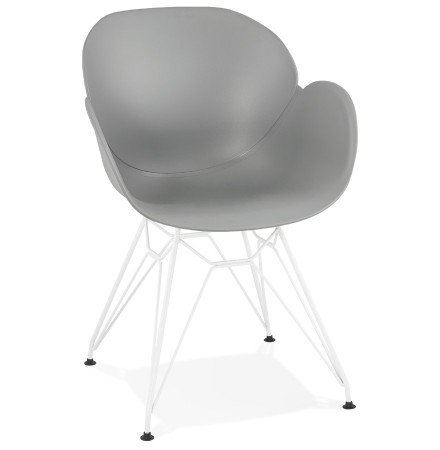 Chaise moderne 'FIDJI' grise avec pieds en métal blanc
