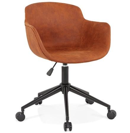 Chaise de bureau 'FOSTER' en microfibre brune sur roulettes