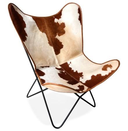 Fauteuil papillon 'FOX' en cuir avec poils taché brun et blanc
