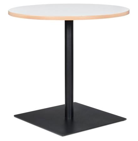 Table ronde 'FUSION ROUND' blanche et structure noire - Ø 80 cm