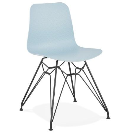 Chaise design 'GAUDY' bleue style industriel avec pied en métal noir