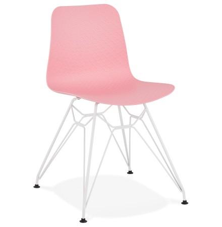 Chaise moderne 'GAUDY' rose avec pied en métal blanc