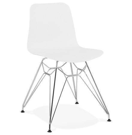 Chaise design 'GAUDY' blanche avec pied en métal chromé