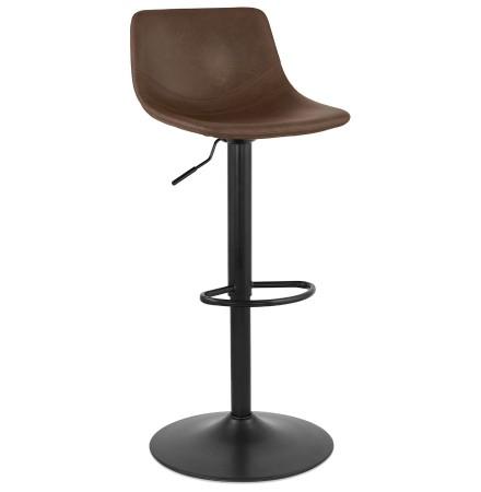 Tabouret réglable 'GARRY' brun confortable avec pied en métal noir