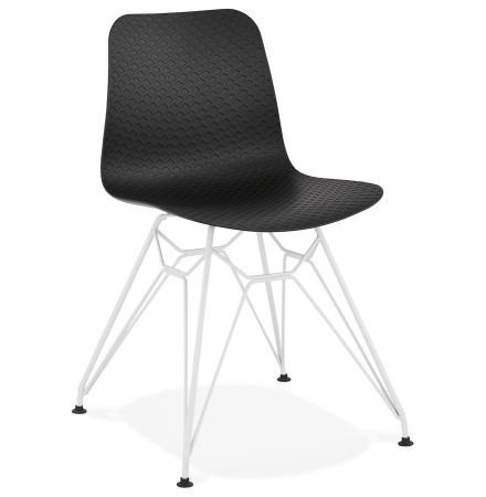 Chaise moderne 'GAUDY' noire avec pied en métal blanc