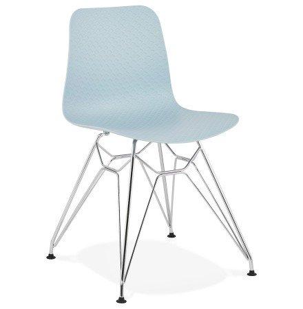 Chaise design 'GAUDY' bleue avec pied en métal chromé