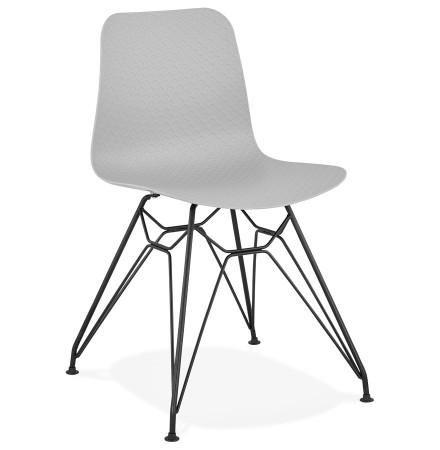 Chaise design 'GAUDY' grise style industriel avec pied en métal noir