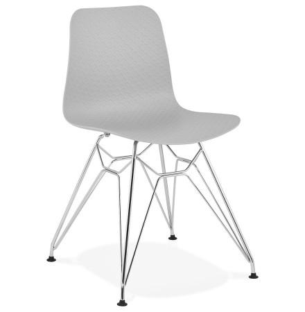 Chaise design 'GAUDY' grise avec pied en métal chromé