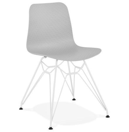 Chaise moderne 'GAUDY' grise avec pied en métal blanc