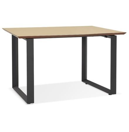 Bureau de direction droit 'GIMINI' en bois finition naturelle et métal noir - 130x70 cm
