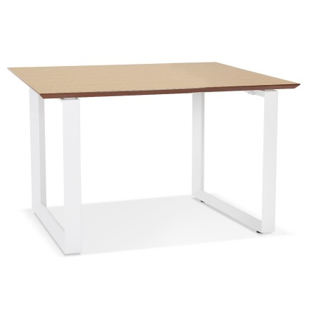 Bureau de direction droit 'GIMINI' en bois finition naturelle et métal blanc - 130x70 cm