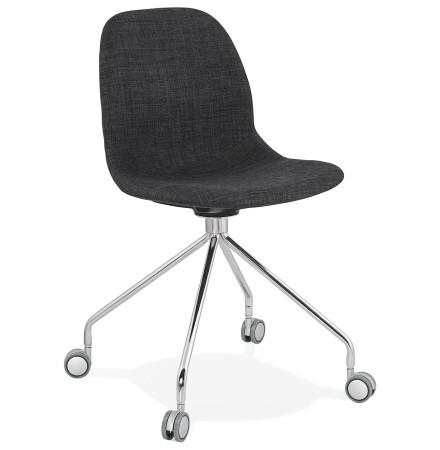 Chaise de bureau design 'GLIPS' en tissu gris sur roulettes