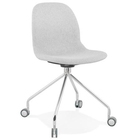 Chaise de bureau design 'GLIPS' en tissu gris clair sur roulettes
