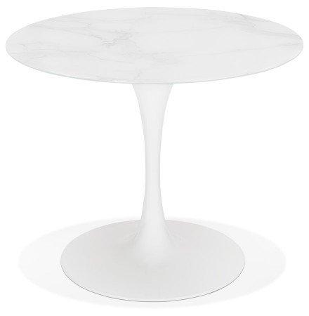 Table à manger design 'GOST' ronde blanche en verre effet marbre - Ø 90 CM