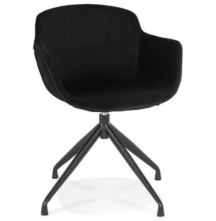 Chaise design avec accoudoirs 'GRAPIN' en velours noir