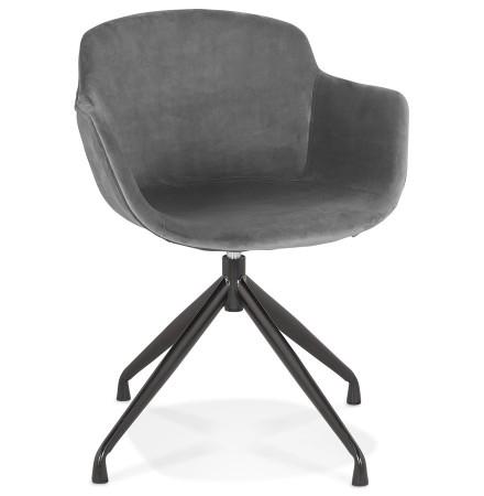 Chaise design avec accoudoirs 'GRAPIN' en velours gris