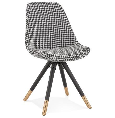 Chaise design 'HAMILTON' en tissu pied de poule et pieds en bois noir
