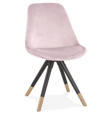 Chaise design 'HAMILTON' en velours rose et pieds en bois noir