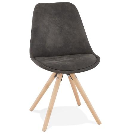 Chaise confortable 'HARRY' en microfibre grise et pieds en bois finition naturelle