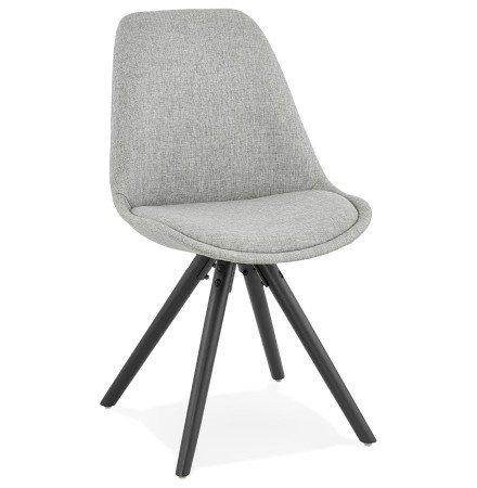 Chaise moderne 'HIPHOP' en tissu gris et pieds en bois noir