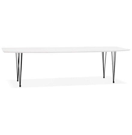 Table à dîner design extensible 'HUSKI' blanche avec pieds noirs style industriel - 170(270)x100 cm