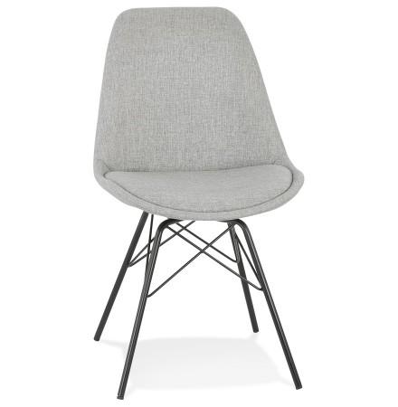 Chaise design 'INDIA' en tissu gris et pieds en métal noir