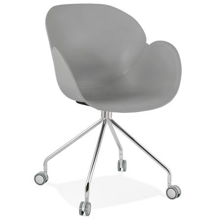 Chaise de bureau design 'JEFF' grise sur roulettes