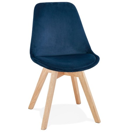 Chaise en velours bleu 'JOE' avec structure en bois naturel