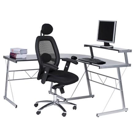 Bureau d'angle en verre noir 'JOB' design informatique (angle au choix)