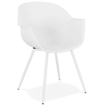 Chaise à accoudoirs 'KELLY' blanche design